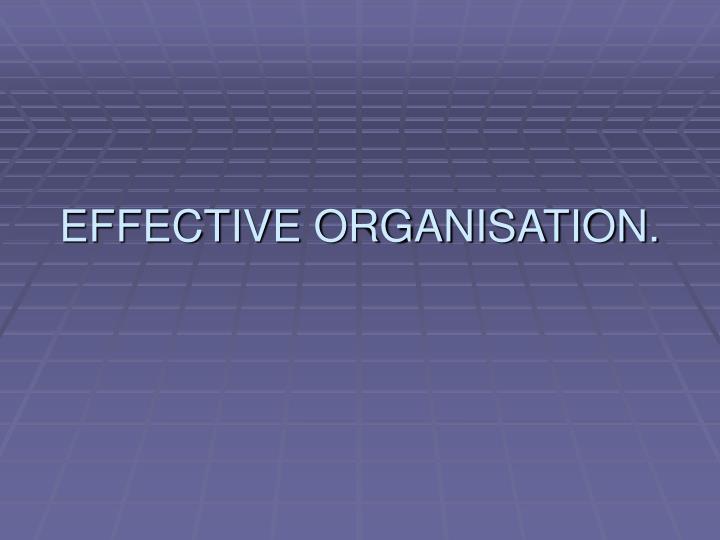 EFFECTIVE ORGANISATION.