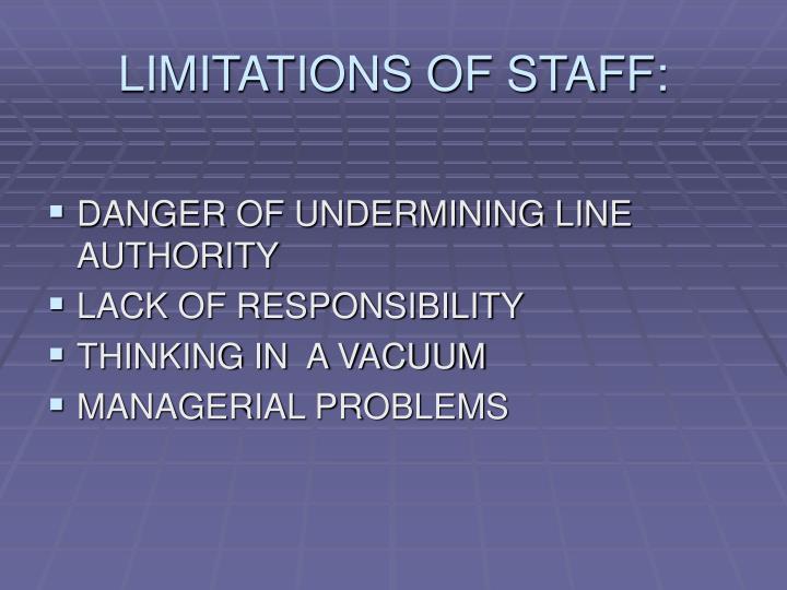 LIMITATIONS OF STAFF: