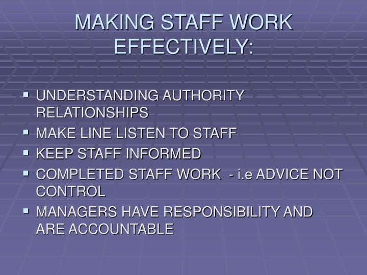 MAKING STAFF WORK EFFECTIVELY: