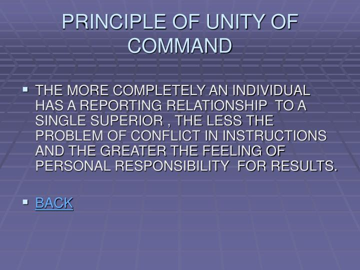 PRINCIPLE OF UNITY OF COMMAND