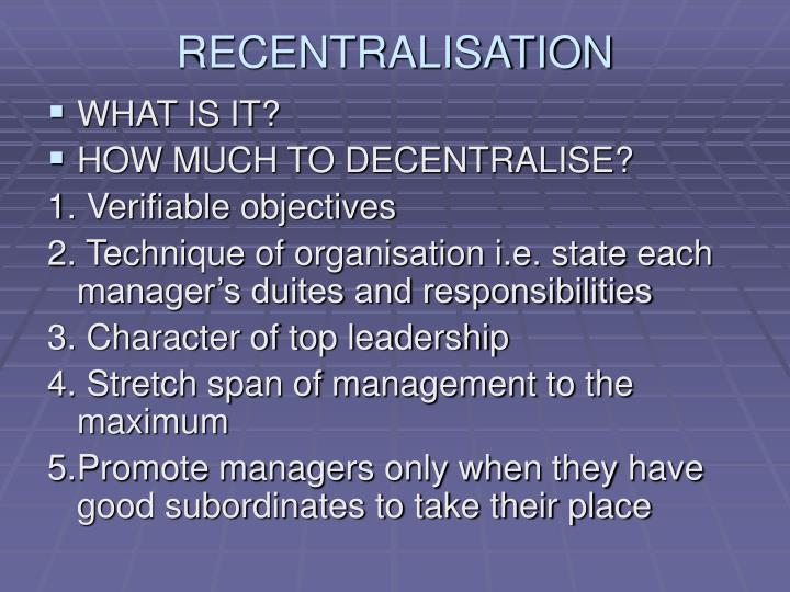 RECENTRALISATION