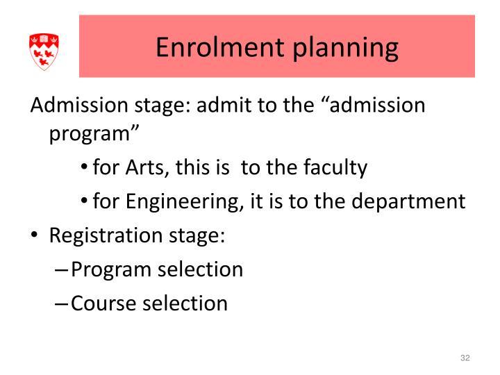 Enrolment planning