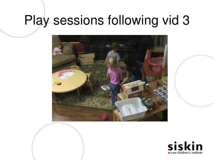 Play sessions following vid 3