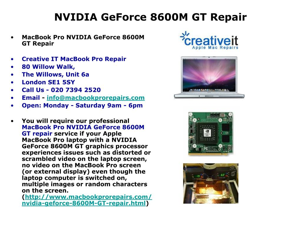 nvidia geforce 8600m gt repair l.