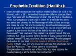 prophetic tradition hadiths1
