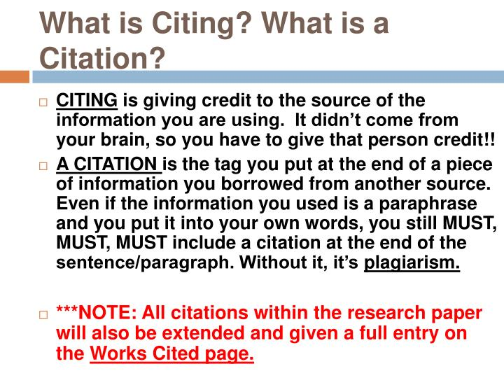 What is Citing? What is a Citation?
