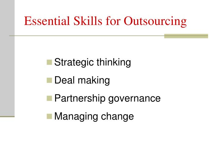 Essential Skills for Outsourcing