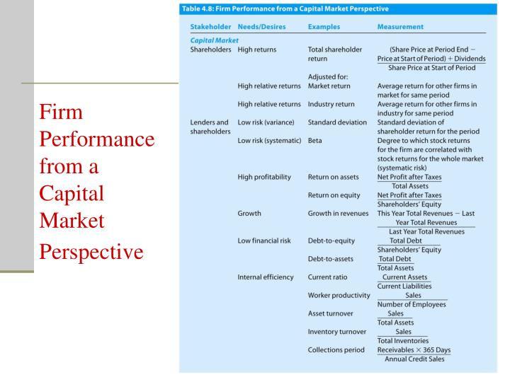 Firm Performance from a Capital Market Perspective