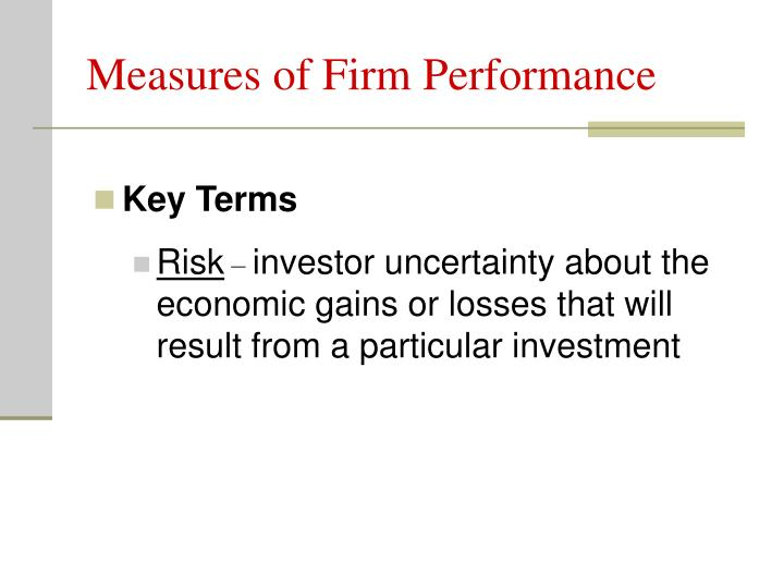 Measures of Firm Performance