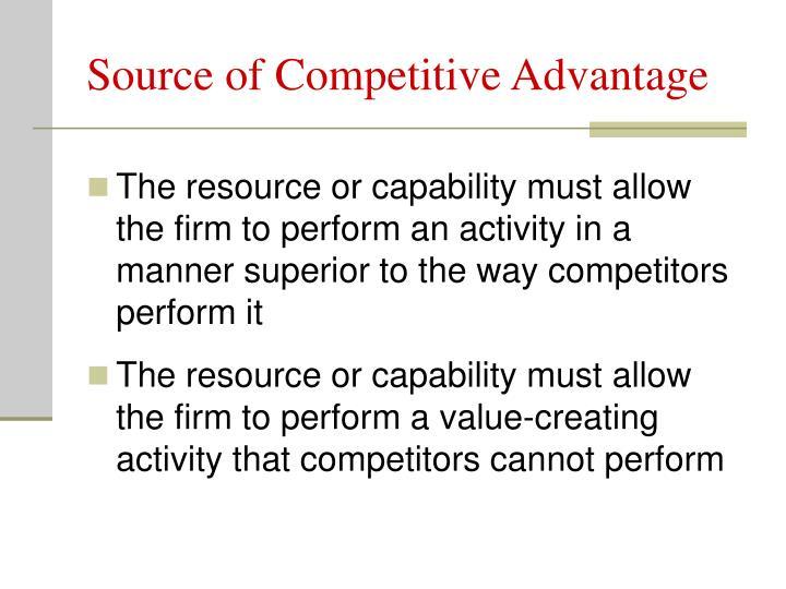 Source of Competitive Advantage