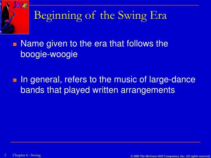 Beginning of the swing era