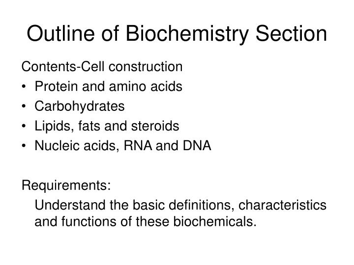 Outline of biochemistry section