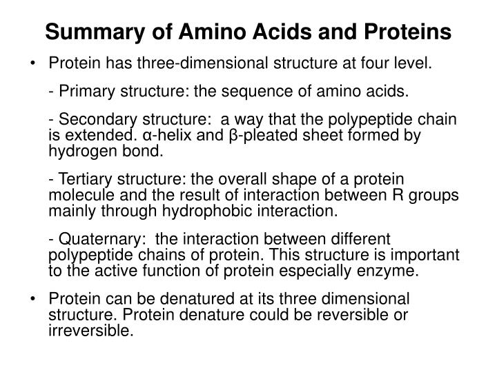 Summary of Amino Acids and Proteins