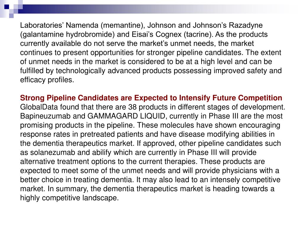 Laboratories' Namenda (memantine), Johnson and Johnson's Razadyne (galantamine hydrobromide) and Eisai's Cognex (tacrine). As the products currently available do not serve the market's unmet needs, the market continues to present opportunities for stronger pipeline candidates. The extent of unmet needs in the market is considered to be at a high level and can be fulfilled by technologically advanced products possessing improved safety and efficacy profiles.