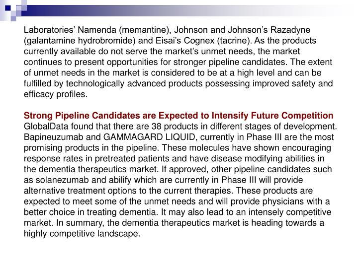 Laboratories' Namenda (memantine), Johnson and Johnson's Razadyne (galantamine hydrobromide) and...