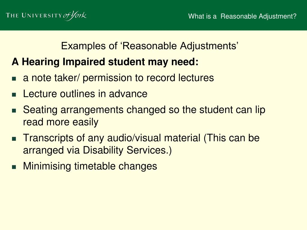 Ppt - What Is A  U2018reasonable Adjustment U2019  Powerpoint Presentation
