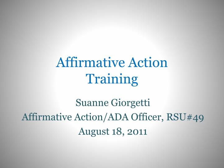 affirmative action training n.