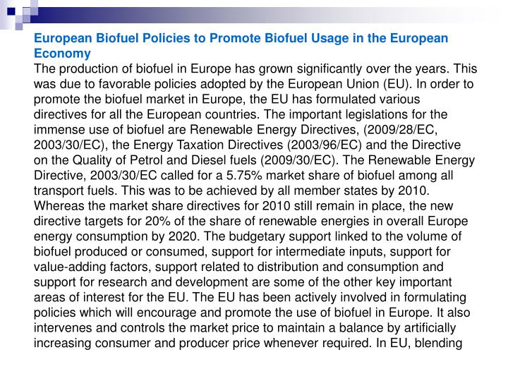 European Biofuel Policies to Promote Biofuel Usage in the European Economy