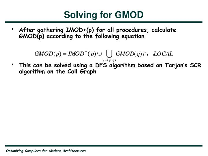 Solving for GMOD
