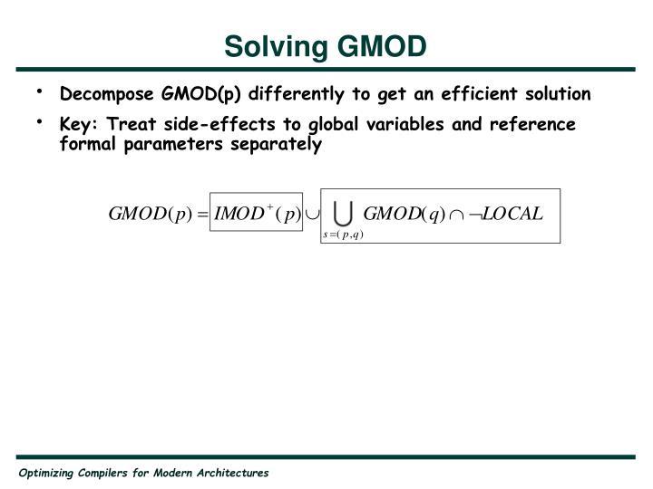 Solving GMOD
