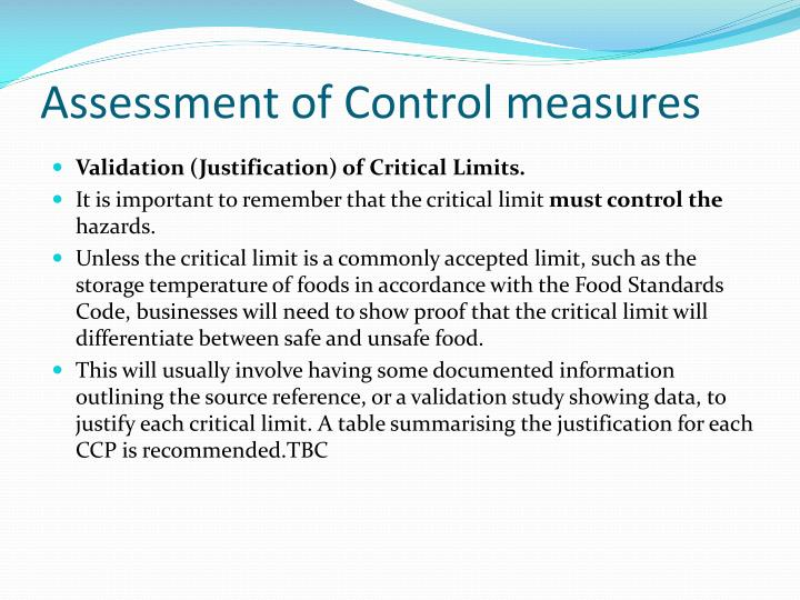 Assessment of Control measures