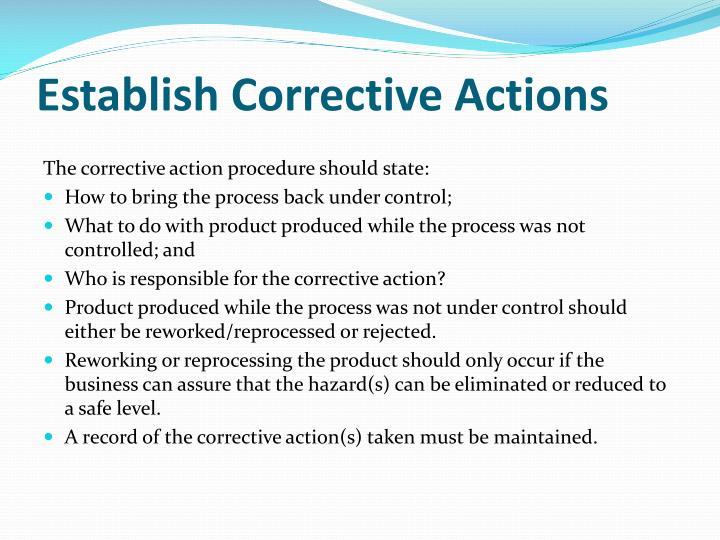 Establish Corrective Actions