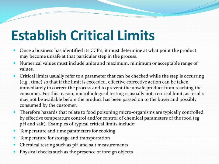 Establish Critical Limits