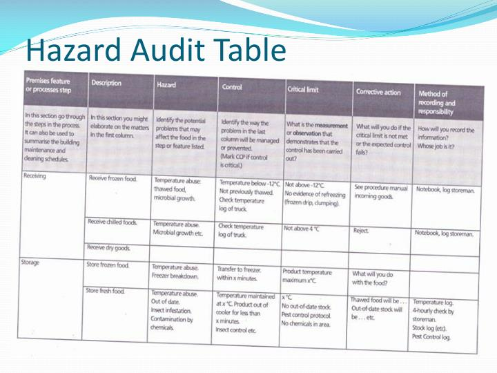 Hazard Audit Table