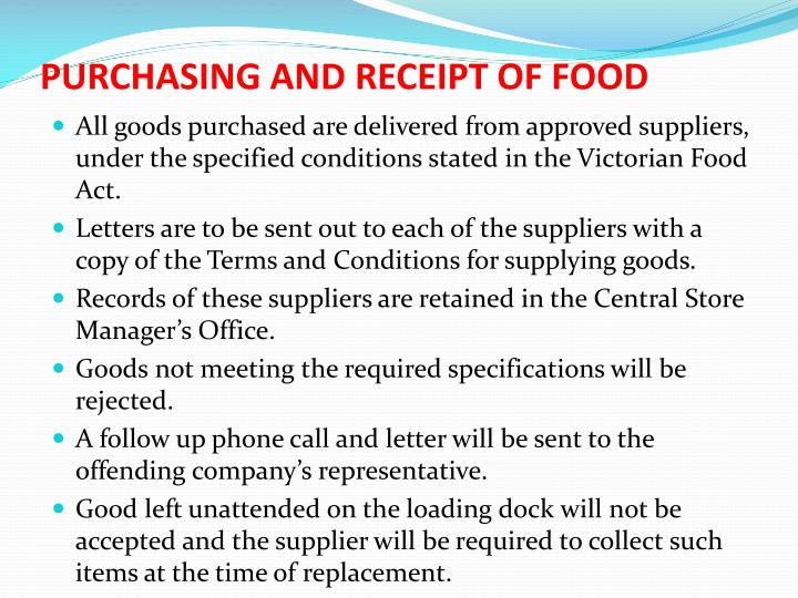 PURCHASING AND RECEIPT OF FOOD
