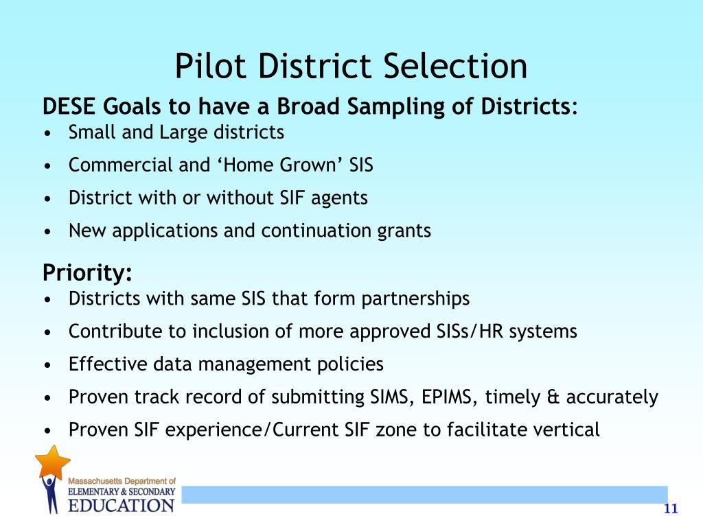 Pilot District Selection