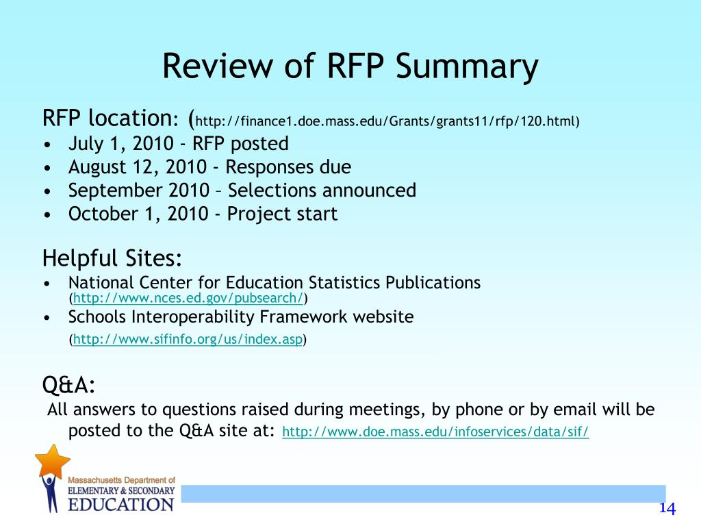 Review of RFP Summary