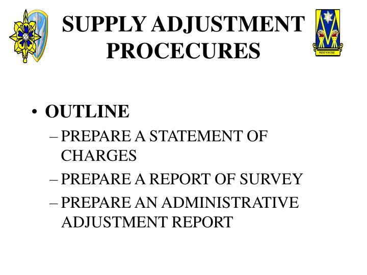 Supply adjustment procecures1
