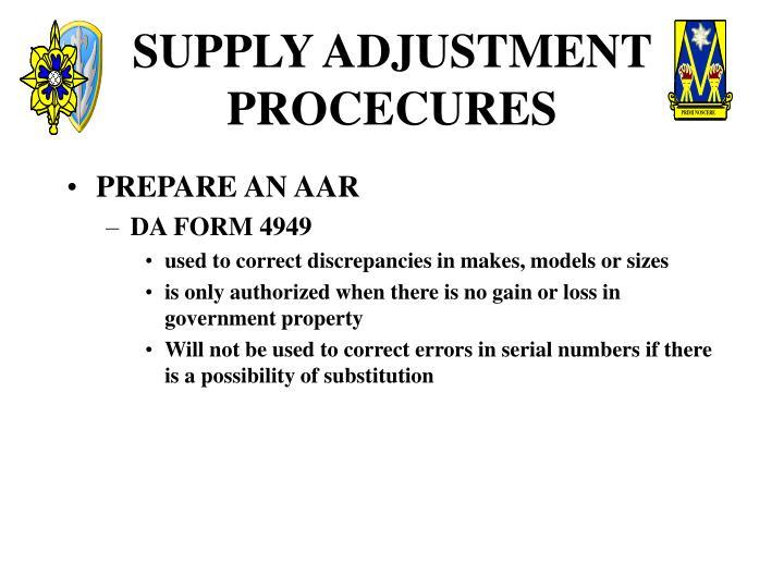 SUPPLY ADJUSTMENT PROCECURES