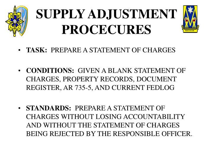 Supply adjustment procecures2