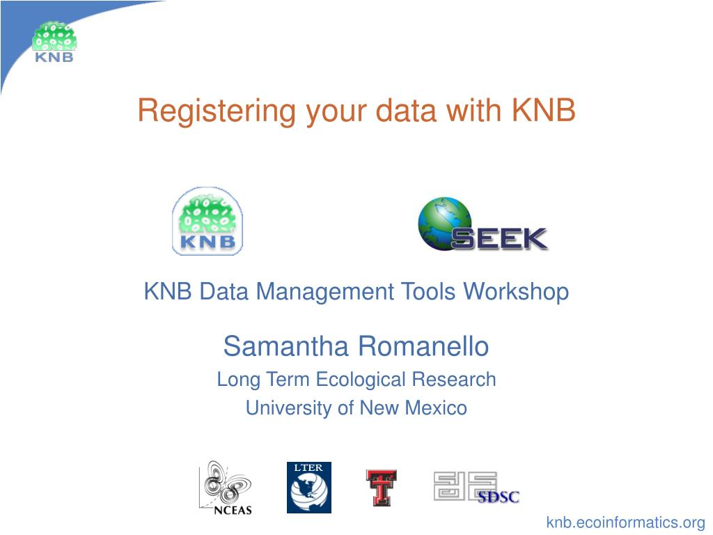 registering your data with knb l.