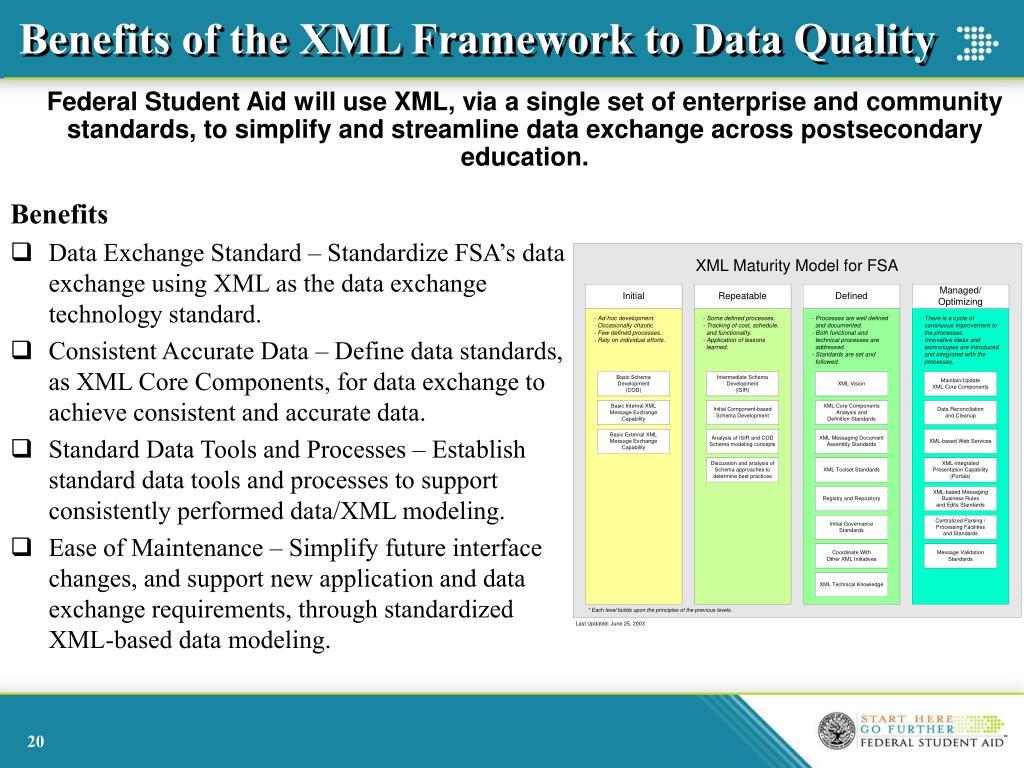 Benefits of the XML Framework to Data Quality