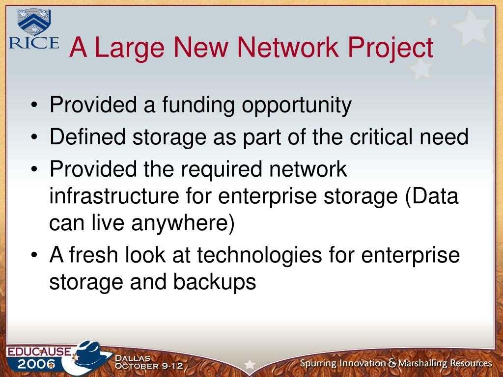 A Large New Network Project