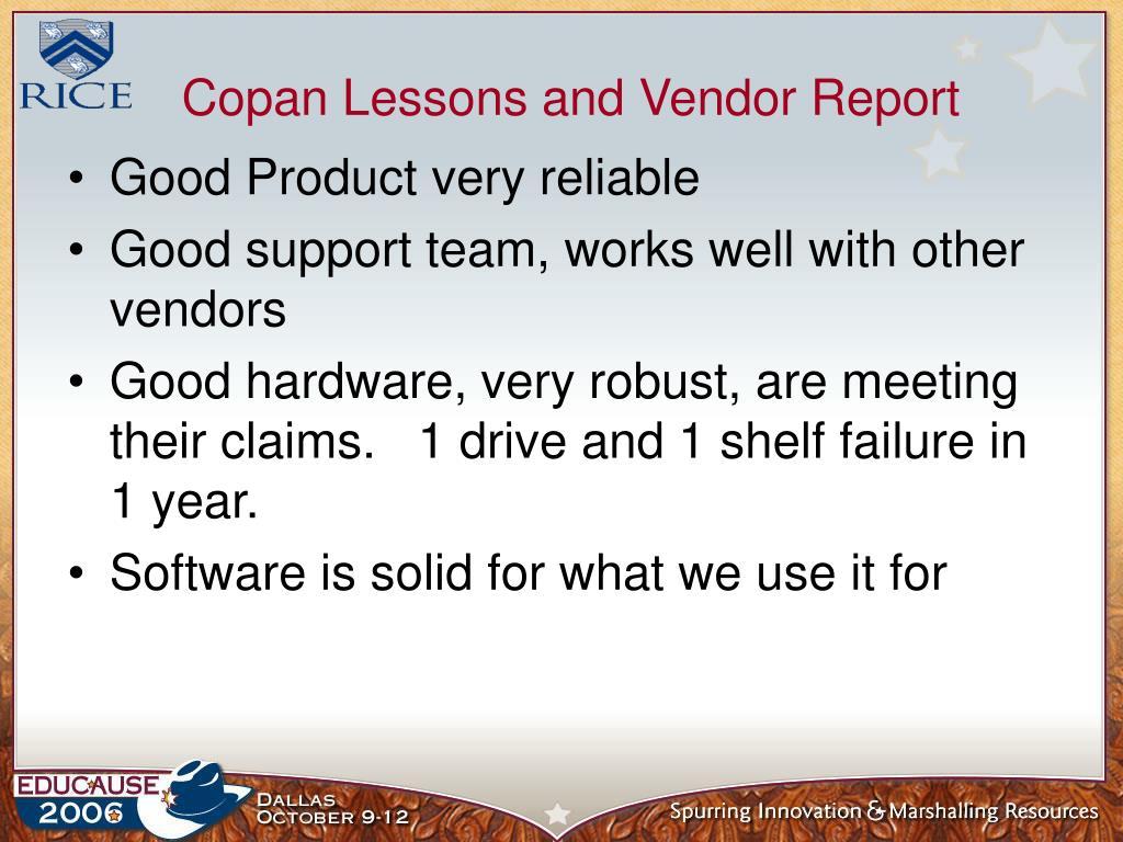 Copan Lessons and Vendor Report