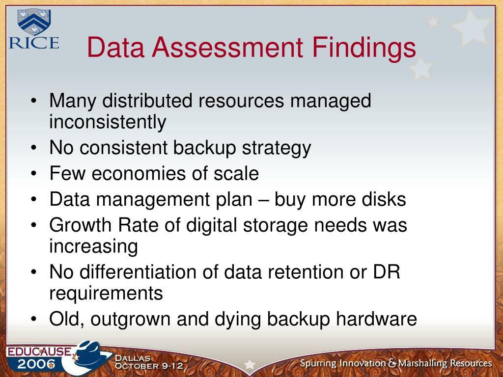 Data Assessment Findings