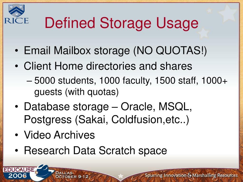 Defined Storage Usage