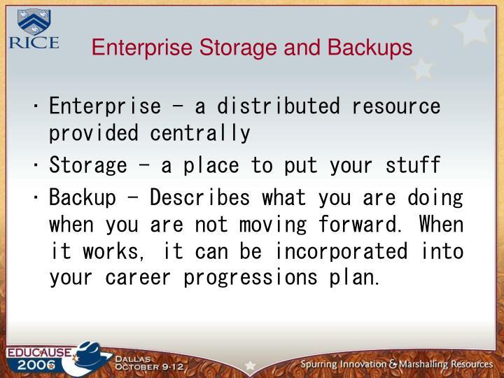 Enterprise storage and backups