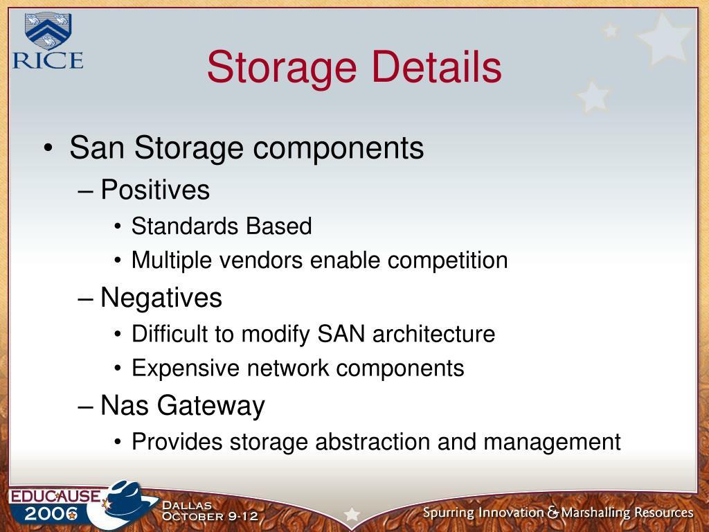 Storage Details