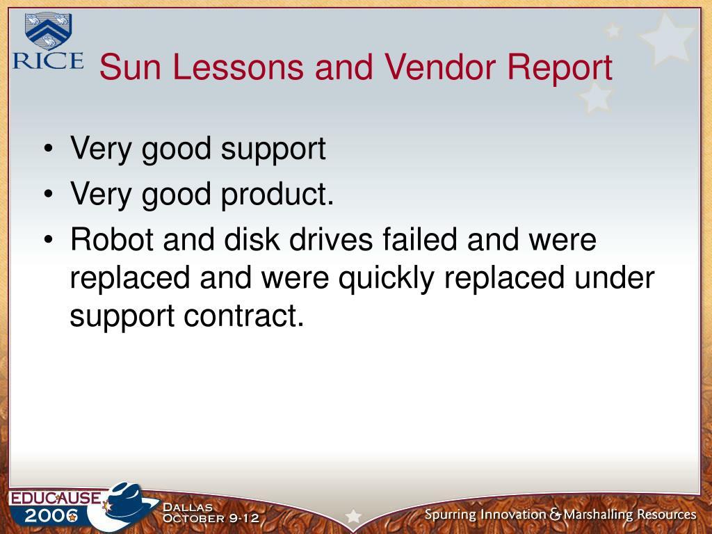 Sun Lessons and Vendor Report