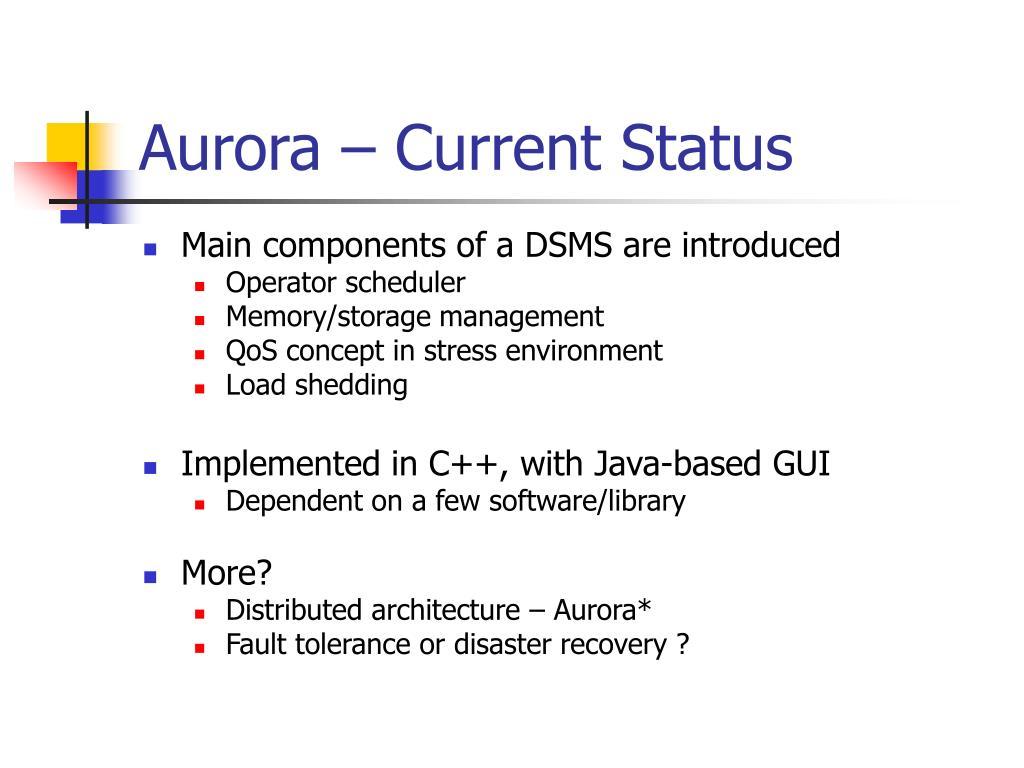 Aurora – Current Status