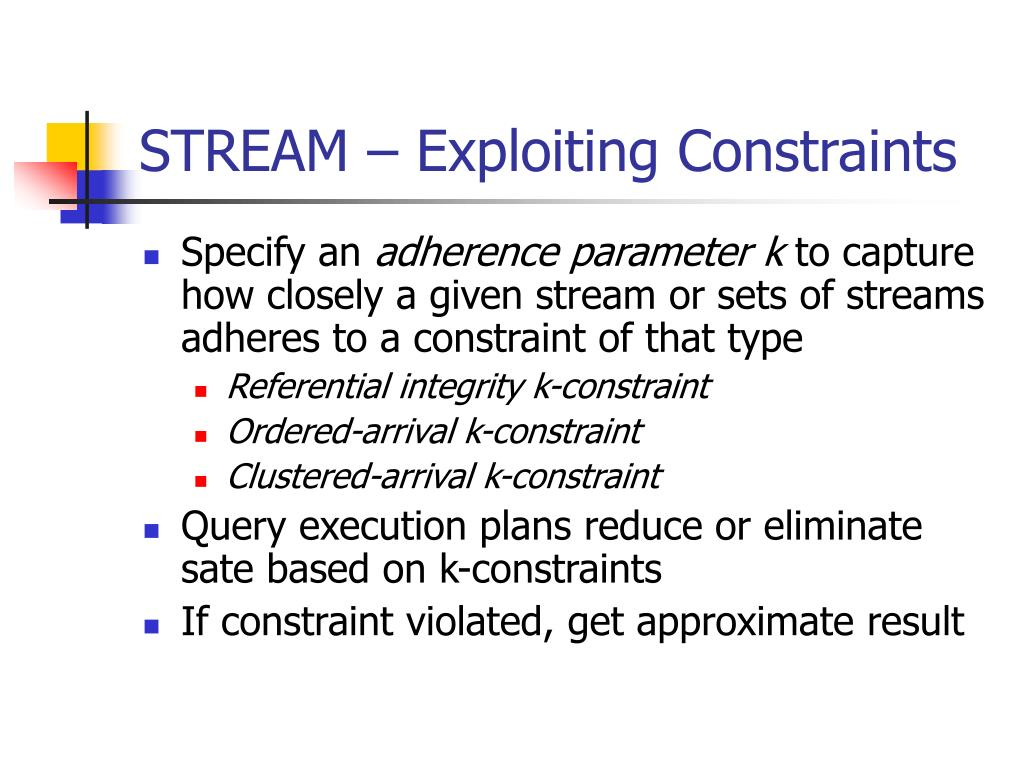 STREAM – Exploiting Constraints