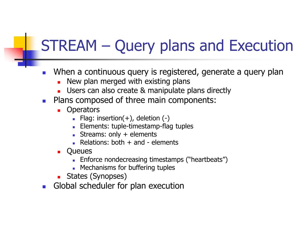 STREAM – Query plans and Execution
