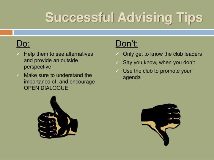 Successful Advising Tips