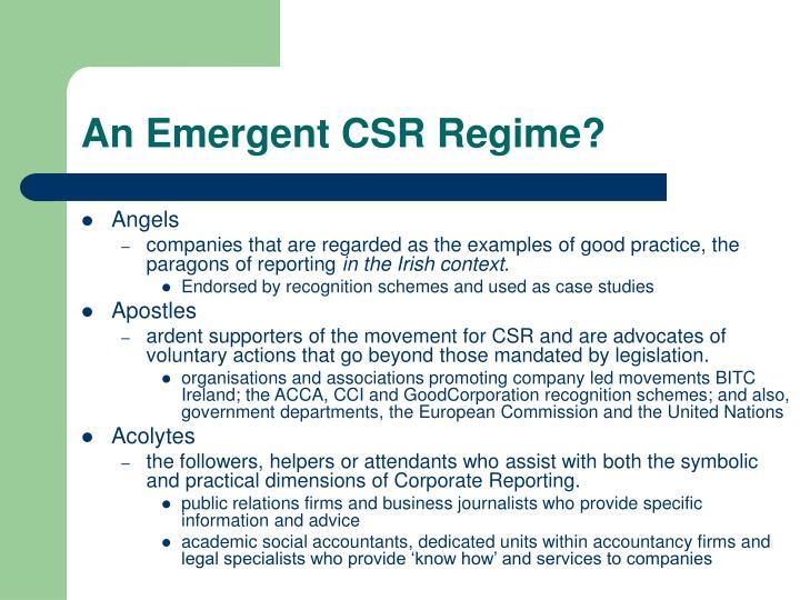 An Emergent CSR Regime?
