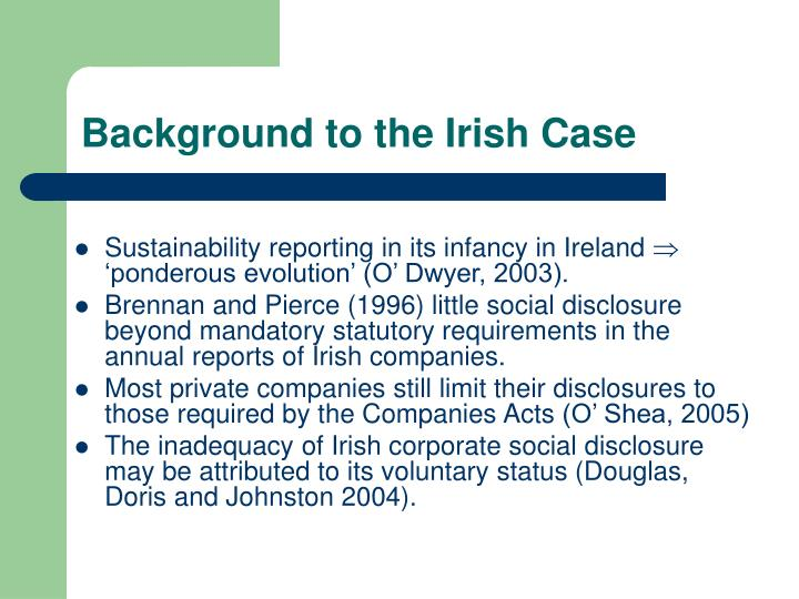 Background to the irish case