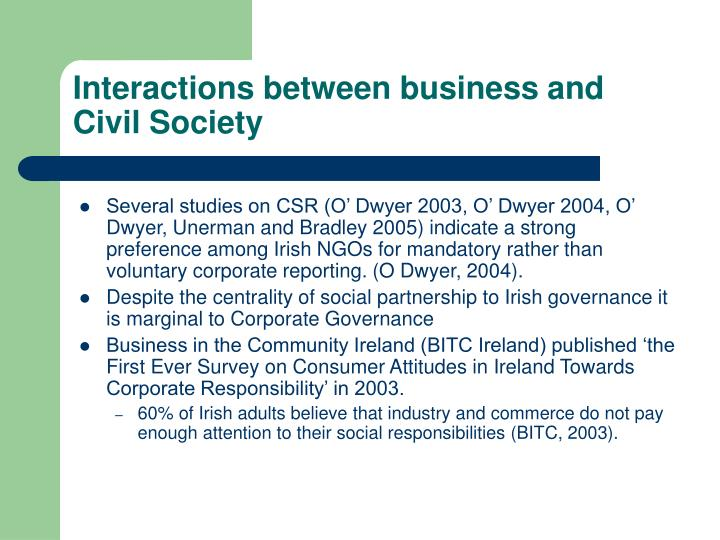 Interactions between business and Civil Society